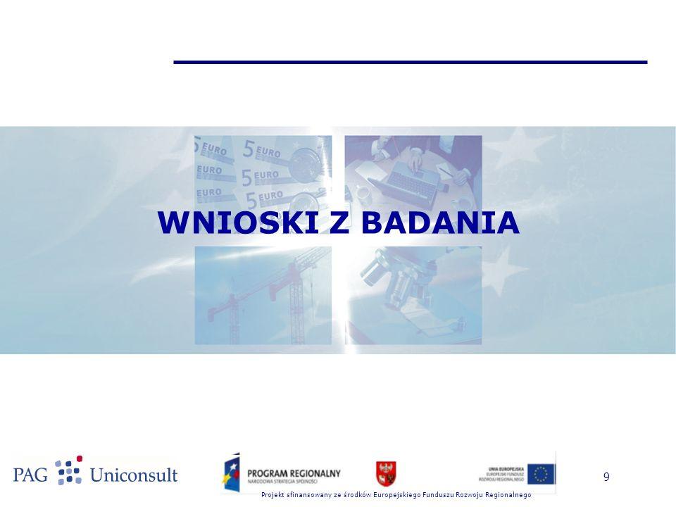 Projekt sfinansowany ze środków Europejskiego Funduszu Rozwoju Regionalnego 9 WNIOSKI Z BADANIA