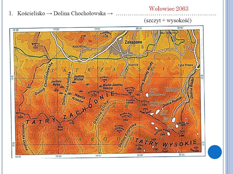 1.Kościelisko → Dolina Chochołowska → ……………………………………………. (szczyt + wysokość) Wołowiec 2063