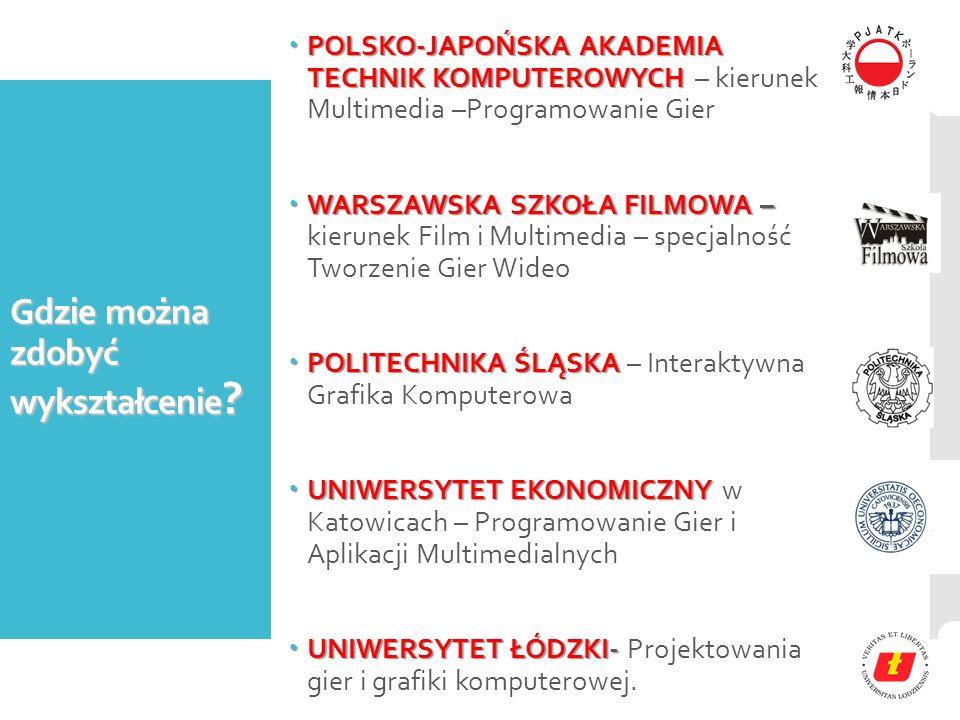 Gdzie można zdobyć wykształcenie ?  POLSKO-JAPOŃSKA AKADEMIA TECHNIK KOMPUTEROWYCH  POLSKO-JAPOŃSKA AKADEMIA TECHNIK KOMPUTEROWYCH – kierunek Multim