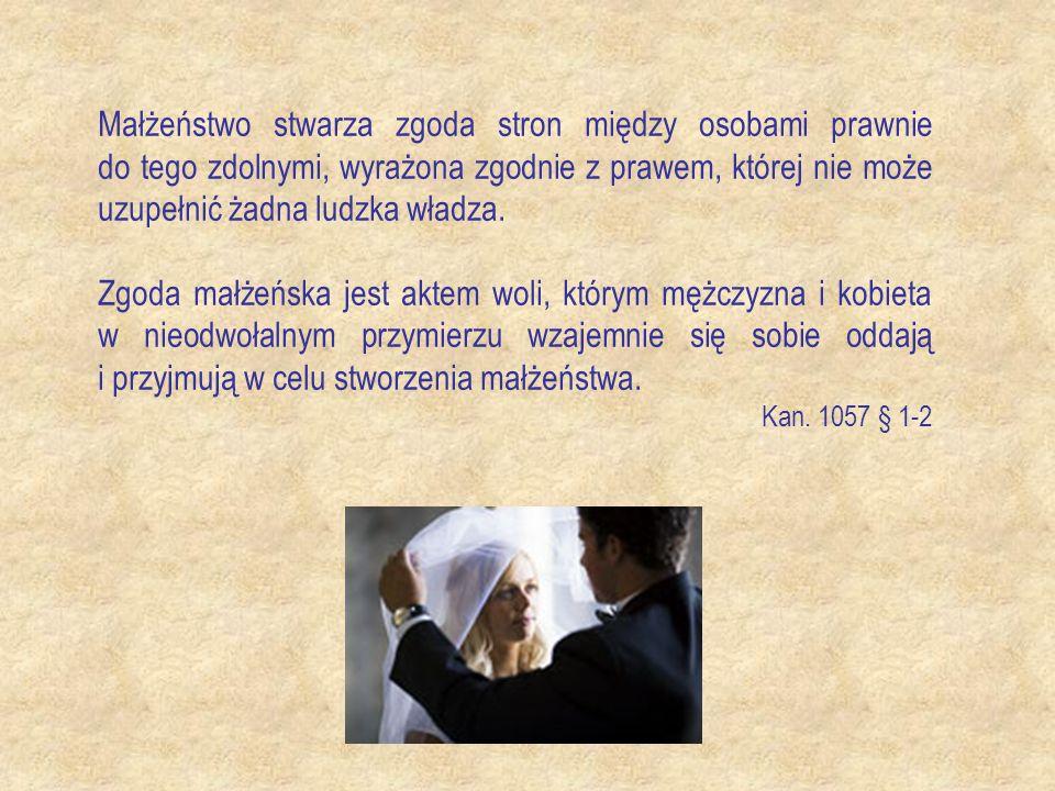 Małżeństwo stwarza zgoda stron między osobami prawnie do tego zdolnymi, wyrażona zgodnie z prawem, której nie może uzupełnić żadna ludzka władza.