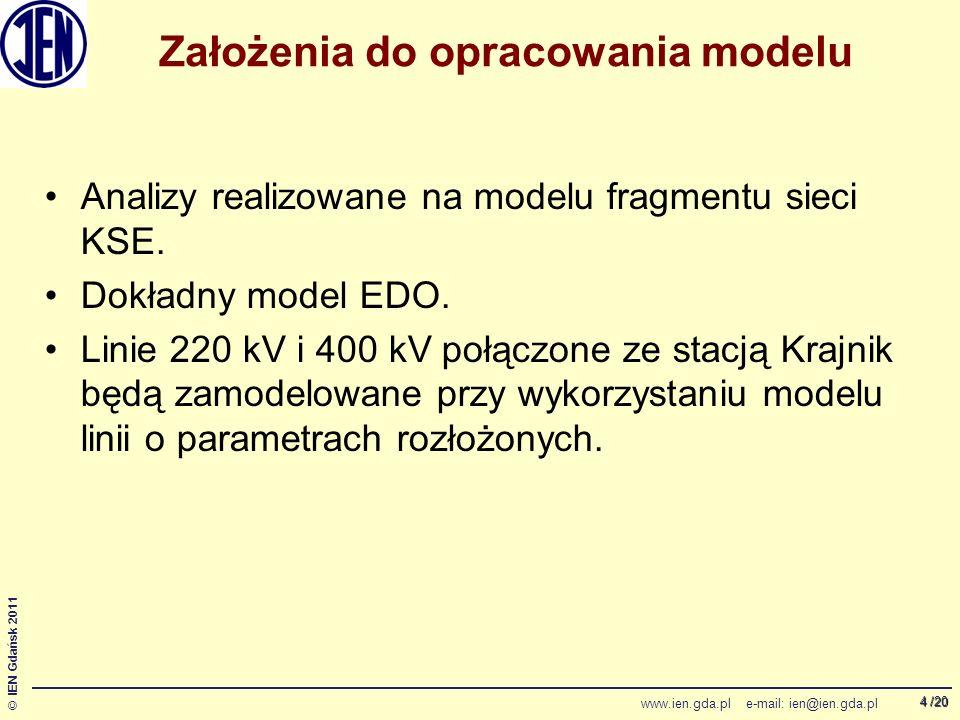 /20 © IEN Gdańsk 2011 www.ien.gda.pl e-mail: ien@ien.gda.pl 4 Założenia do opracowania modelu Analizy realizowane na modelu fragmentu sieci KSE.