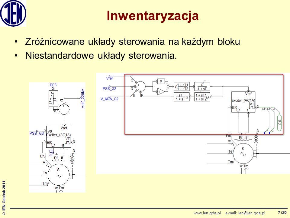 /20 © IEN Gdańsk 2011 www.ien.gda.pl e-mail: ien@ien.gda.pl 7 Inwentaryzacja Zróżnicowane układy sterowania na każdym bloku Niestandardowe układy sterowania.