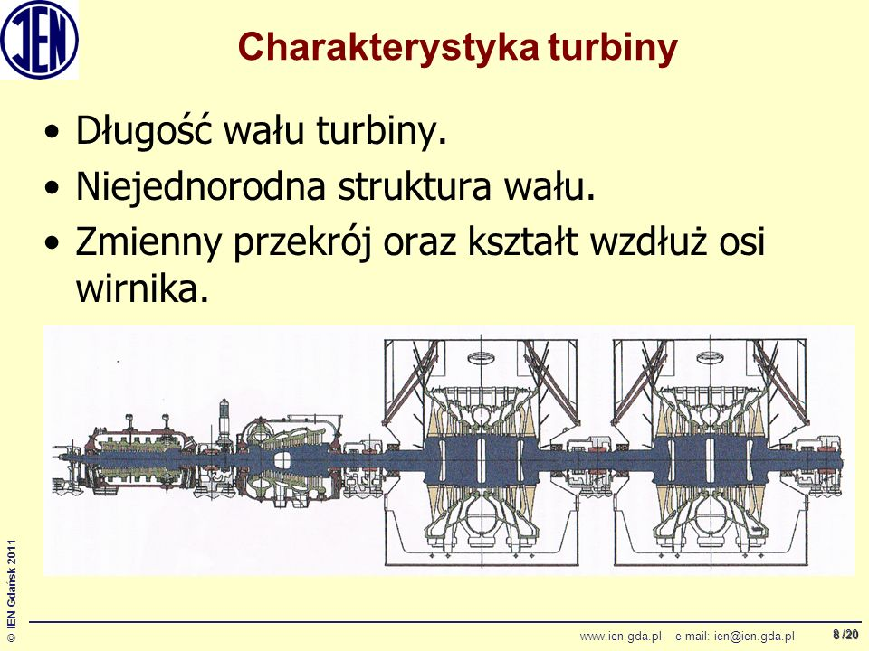 /20 © IEN Gdańsk 2011 www.ien.gda.pl e-mail: ien@ien.gda.pl 8 Charakterystyka turbiny Długość wału turbiny.