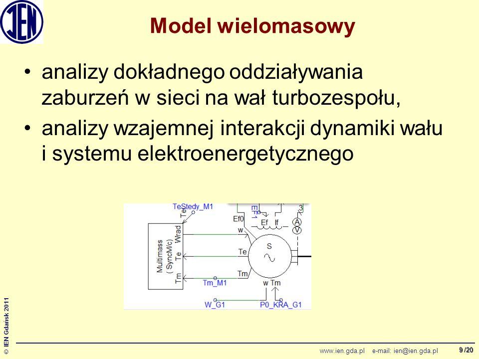 /20 © IEN Gdańsk 2011 www.ien.gda.pl e-mail: ien@ien.gda.pl 9 Model wielomasowy analizy dokładnego oddziaływania zaburzeń w sieci na wał turbozespołu, analizy wzajemnej interakcji dynamiki wału i systemu elektroenergetycznego