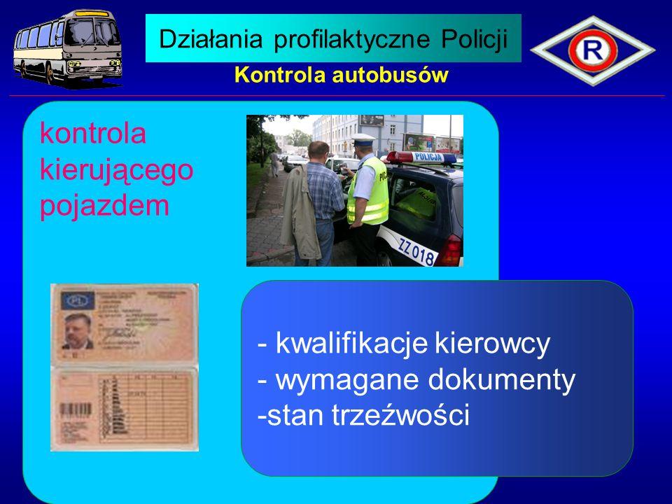 Kontrola autobusów kontrola kierującego pojazdem - kwalifikacje kierowcy - wymagane dokumenty -stan trzeźwości Działania profilaktyczne Policji