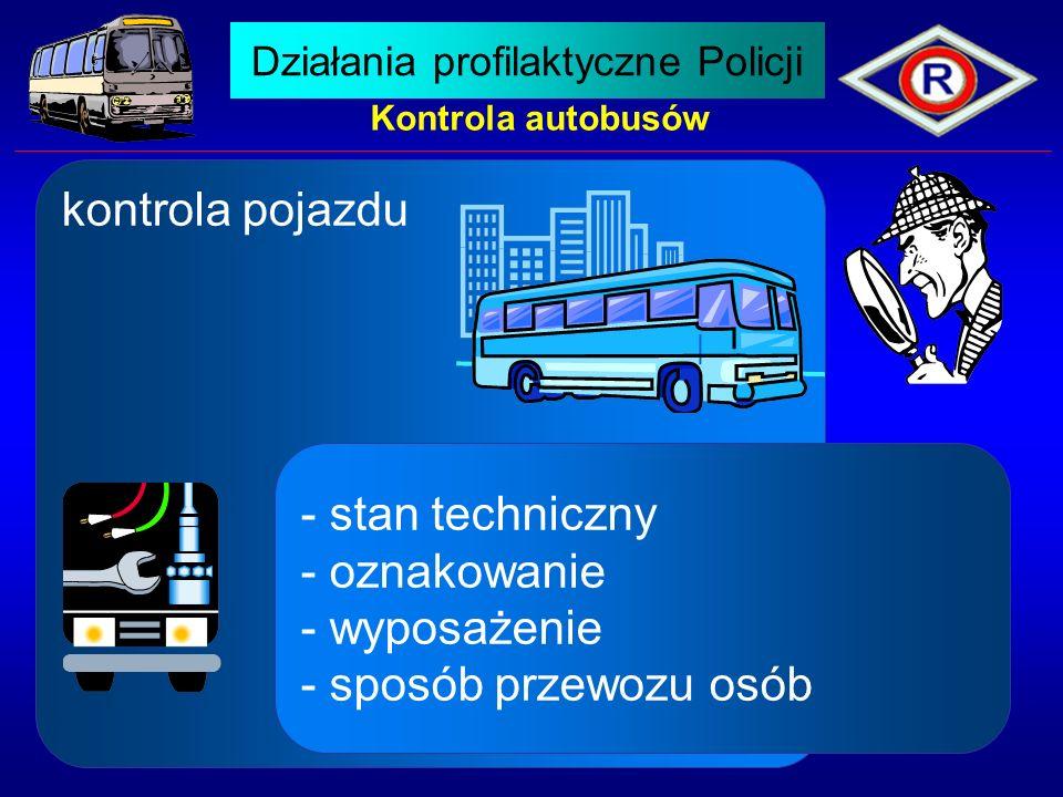 Kontrola autobusów kontrola pojazdu - stan techniczny - oznakowanie - wyposażenie - sposób przewozu osób Działania profilaktyczne Policji
