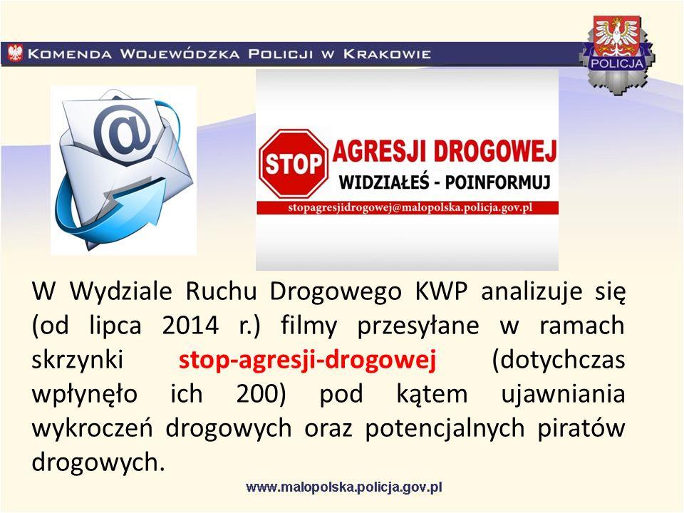 W Wydziale Ruchu Drogowego KWP analizuje się (od lipca 2014 r.) filmy przesyłane w ramach skrzynki stop-agresji-drogowej (dotychczas wpłynęło ich 200) pod kątem ujawniania wykroczeń drogowych oraz potencjalnych piratów drogowych.