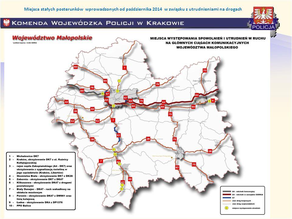 Miejsca stałych posterunków wprowadzonych od października 2014 w związku z utrudnieniami na drogach