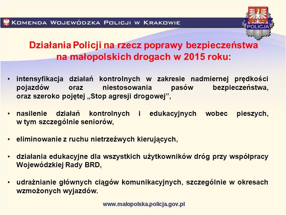 """Działania Policji na rzecz poprawy bezpieczeństwa na małopolskich drogach w 2015 roku: intensyfikacja działań kontrolnych w zakresie nadmiernej prędkości pojazdów oraz niestosowania pasów bezpieczeństwa, oraz szeroko pojętej """"Stop agresji drogowej , nasilenie działań kontrolnych i edukacyjnych wobec pieszych, w tym szczególnie seniorów, eliminowanie z ruchu nietrzeźwych kierujących, działania edukacyjne dla wszystkich użytkowników dróg przy współpracy Wojewódzkiej Rady BRD, udrażnianie głównych ciągów komunikacyjnych, szczególnie w okresach wzmożonych wyjazdów."""
