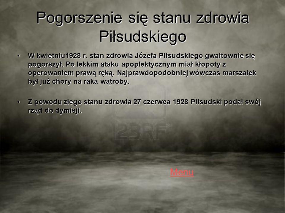 Pogorszenie się stanu zdrowia Piłsudskiego W kwietniu1928 r.