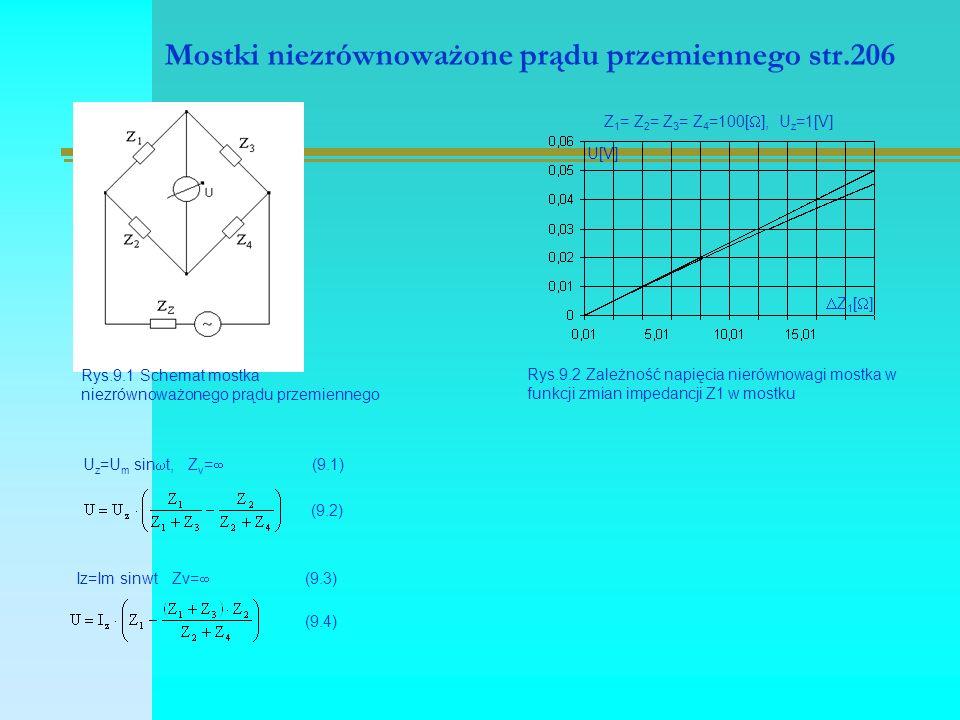 Mostki niezrównoważone prądu przemiennego str.206 Rys.9.1 Schemat mostka niezrównoważonego prądu przemiennego Rys.9.2 Zależność napięcia nierównowagi