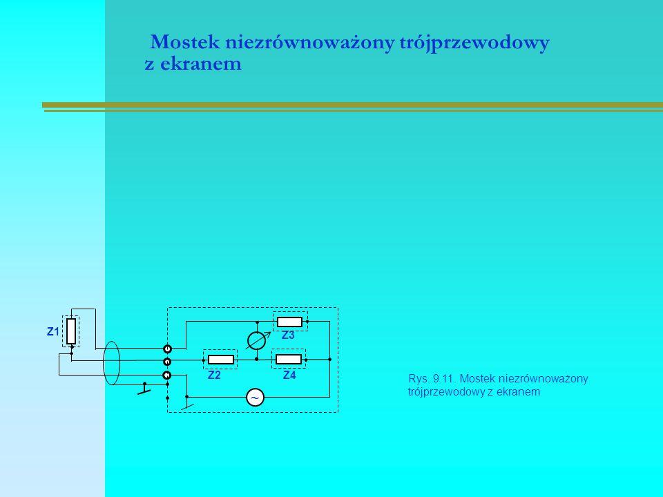 Mostek niezrównoważony trójprzewodowy z ekranem Rys. 9.11. Mostek niezrównoważony trójprzewodowy z ekranem Z2Z4  Z1 Z3
