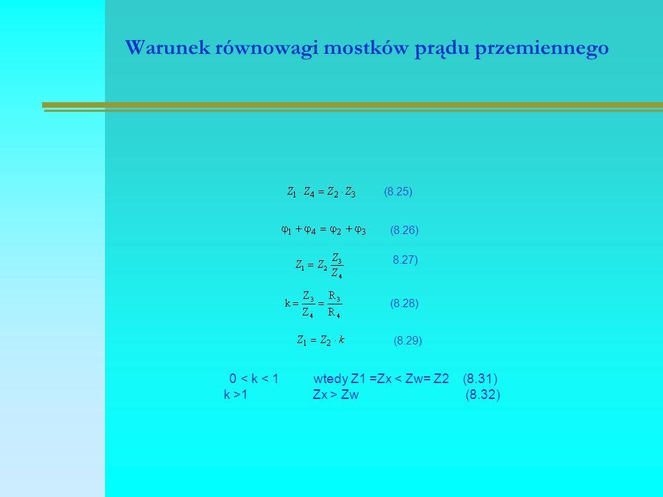 Warunek równowagi mostków prądu przemiennego (8.25) (8.26) 8.27) (8.28) (8.29) 0 < k < 1 wtedy Z1 =Zx < Zw= Z2 (8.31) k >1 Zx > Zw (8.32)