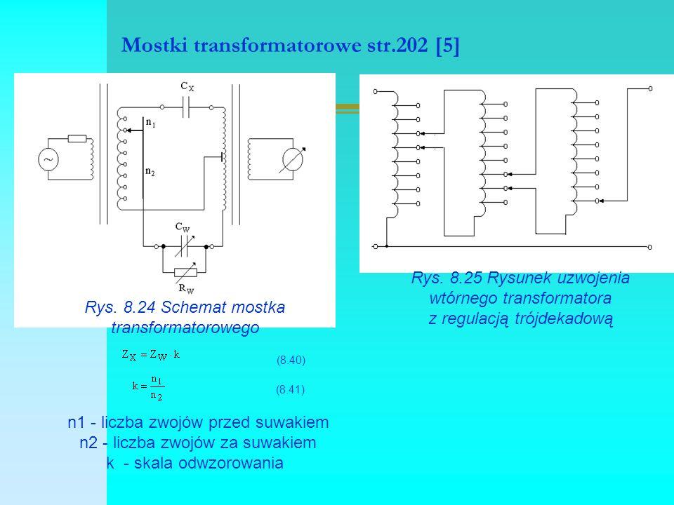 Mostki transformatorowe str.202 [5] Rys. 8.24 Schemat mostka transformatorowego (8.40) (8.41) n1 - liczba zwojów przed suwakiem n2 - liczba zwojów za