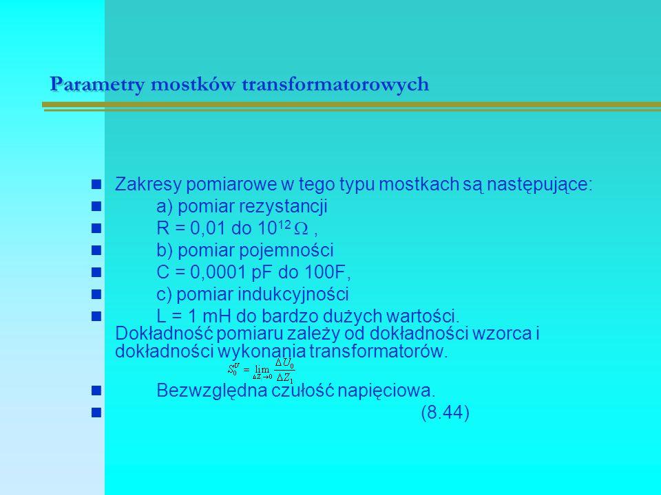 Mostki niezrównoważone prądu przemiennego str.206 Rys.9.1 Schemat mostka niezrównoważonego prądu przemiennego Rys.9.2 Zależność napięcia nierównowagi mostka w funkcji zmian impedancji Z1 w mostku Z1[]Z1[] U[V] Z 1 = Z 2 = Z 3 = Z 4 =100[  ], U z =1[V] U z =U m sin  t, Z v =  (9.1) (9.2) Iz=Im sinwt Zv=  (9.3) (9.4)