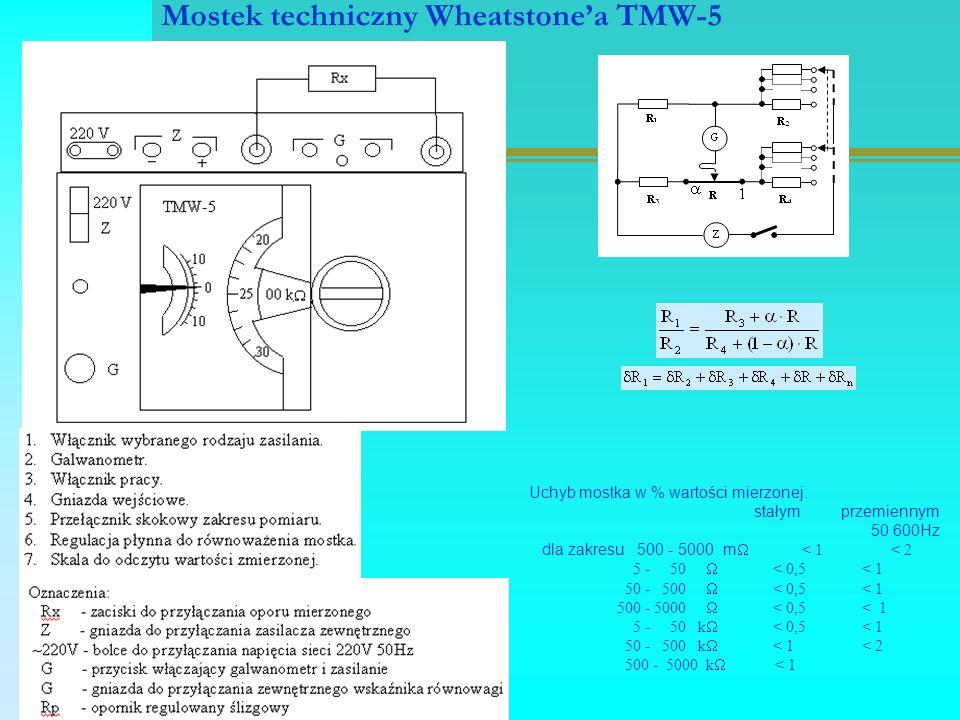 Mostek techniczny Wheatstone'a TMW-5 Uchyb mostka w % wartości mierzonej: stałym przemiennym 50 600Hz dla zakresu 500 - 5000 m  < 1 < 2 5 - 50  < 0,5 < 1 50 - 500  < 0,5 < 1 500 - 5000  < 0,5 < 1 5 - 50 k  < 0,5 < 1 50 - 500 k  < 1 < 2 500 - 5000 k  < 1