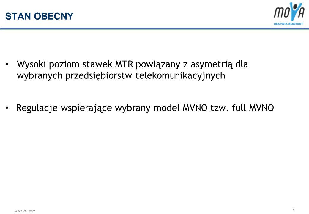 3 Xxxxx-xx/Footer WYSOKI POZIOM STAWEK MTR I ASYMETRIA Wysoki poziom stawek MTR oraz asymetria stawek MTR dla wybranych przedsiębiorców stwarza znaczące bariery rozwoju dla Carrefour Mova, Aktualne warunki w zakresie asymetrii i wysokości stawek MTR powodują, że wybrane przedsiębiorstwa telekomunikacyjne otrzymują od Regulatora premię, która dodatkowo wspiera ich rozwój, Nowi gracze MVNO w tym Mova z uwago na brak premii regulacyjnej musi ponosić dodatkowe koszty prowadzenia biznesu (biorąc pod uwagę aktualne stawki oraz strukturę ruchu jest to koszt kilku groszy).