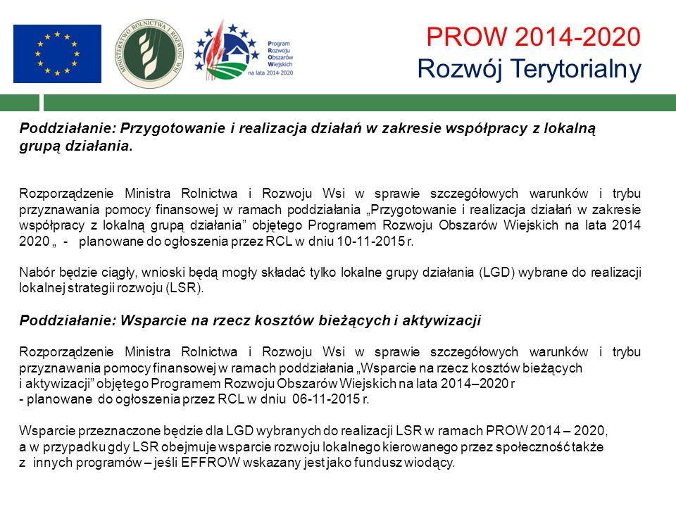PROW 2014-2020 Rozwój Terytorialny Poddziałanie: Przygotowanie i realizacja działań w zakresie współpracy z lokalną grupą działania.