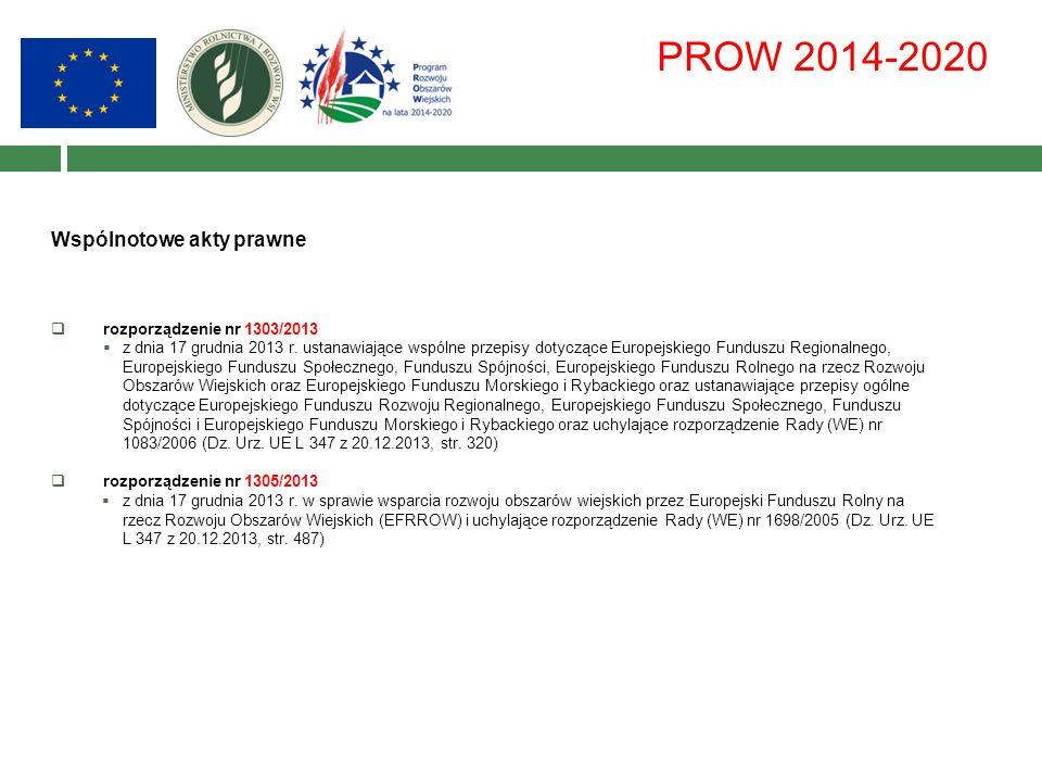PROW 2014-2020 Wspólnotowe akty prawne  rozporządzenie nr 1303/2013  z dnia 17 grudnia 2013 r.