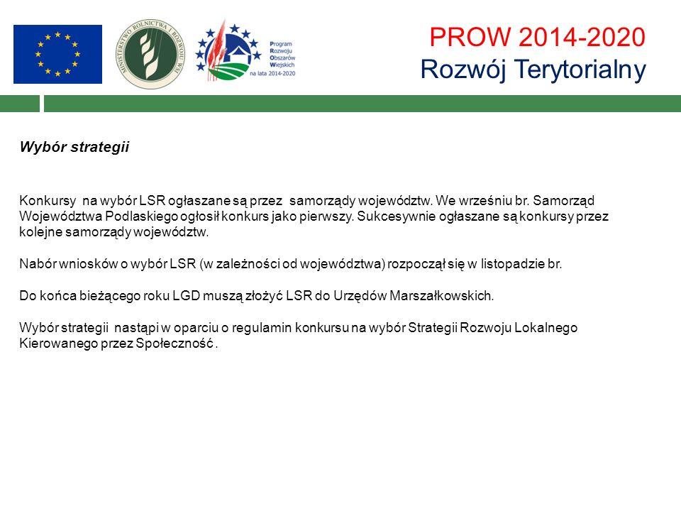 PROW 2014-2020 Rozwój Terytorialny Wybór strategii Konkursy na wybór LSR ogłaszane są przez samorządy województw.