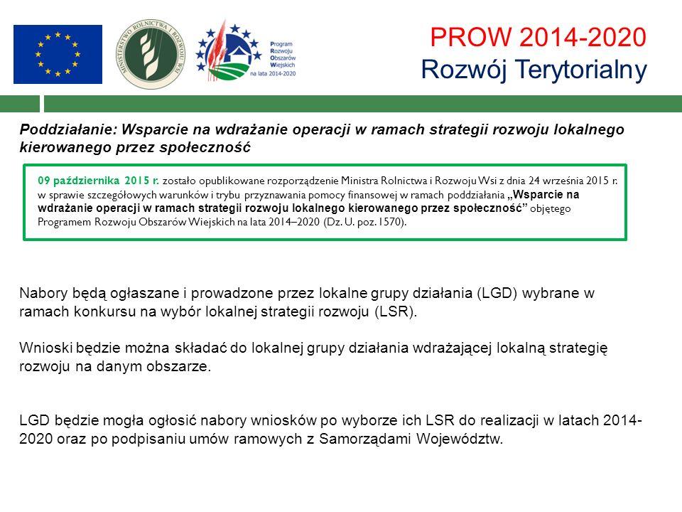 PROW 2014-2020 Rozwój Terytorialny Poddziałanie: Wsparcie na wdrażanie operacji w ramach strategii rozwoju lokalnego kierowanego przez społeczność Nabory będą ogłaszane i prowadzone przez lokalne grupy działania (LGD) wybrane w ramach konkursu na wybór lokalnej strategii rozwoju (LSR).