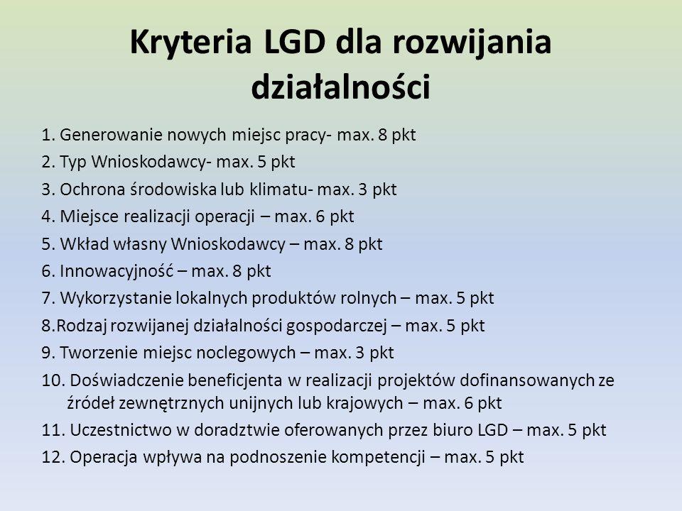 Kryteria LGD dla rozwijania działalności 1. Generowanie nowych miejsc pracy- max.
