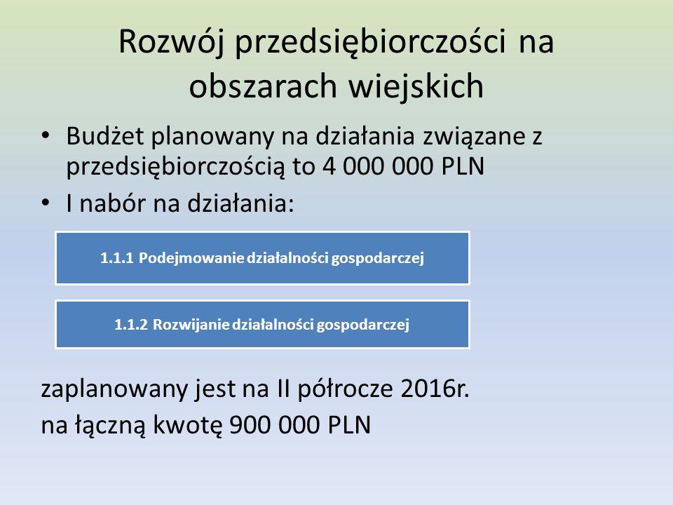Rozwój przedsiębiorczości na obszarach wiejskich Budżet planowany na działania związane z przedsiębiorczością to 4 000 000 PLN I nabór na działania: zaplanowany jest na II półrocze 2016r.