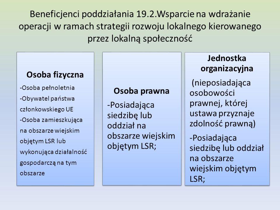 Beneficjenci poddziałania 19.2.Wsparcie na wdrażanie operacji w ramach strategii rozwoju lokalnego kierowanego przez lokalną społeczność Osoba fizyczna -Osoba pełnoletnia -Obywatel państwa członkowskiego UE -Osoba zamieszkująca na obszarze wiejskim objętym LSR lub wykonująca działalność gospodarczą na tym obszarze Osoba prawna -Posiadająca siedzibę lub oddział na obszarze wiejskim objętym LSR; Jednostka organizacyjna (nieposiadająca osobowości prawnej, której ustawa przyznaje zdolność prawną) -Posiadająca siedzibę lub oddział na obszarze wiejskim objętym LSR;