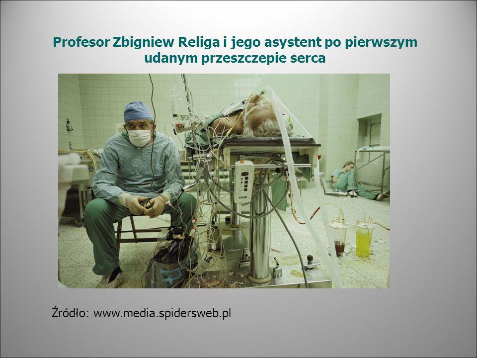 Profesor Zbigniew Religa i jego asystent po pierwszym udanym przeszczepie serca Źródło: www.media.spidersweb.pl