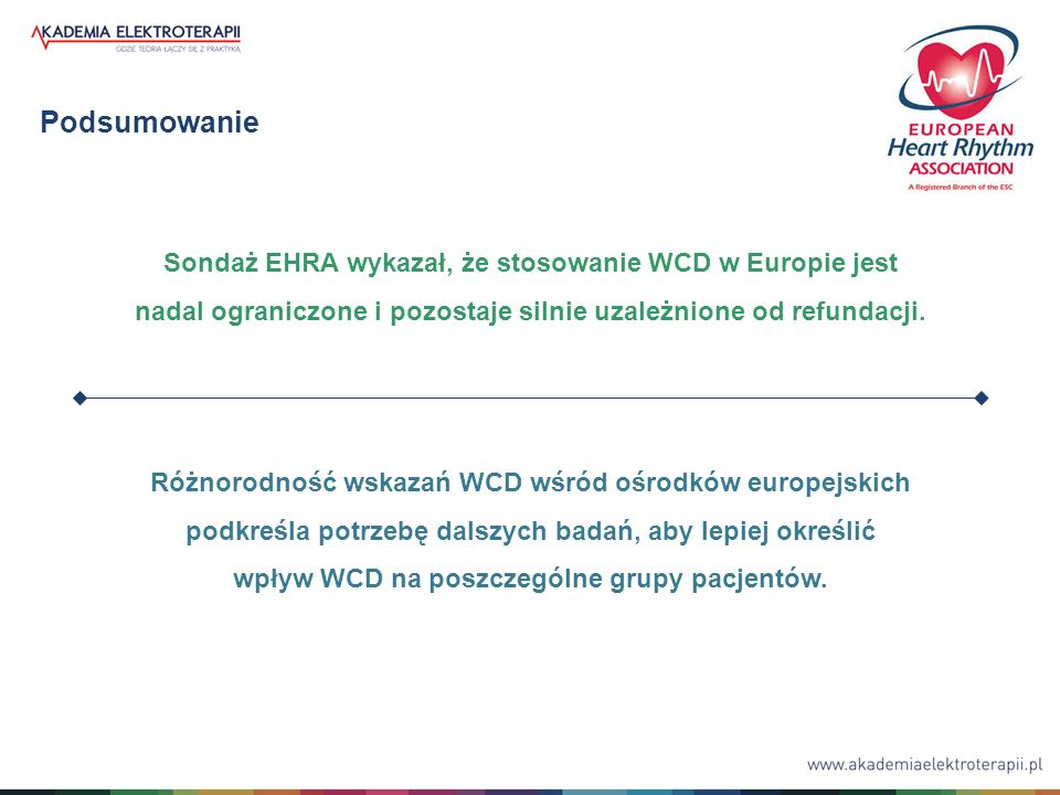 Podsumowanie Sondaż EHRA wykazał, że stosowanie WCD w Europie jest nadal ograniczone i pozostaje silnie uzależnione od refundacji. Różnorodność wskaza