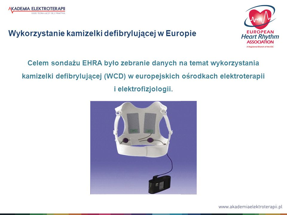 Wykorzystanie kamizelki defibrylującej w Europie Celem sondażu EHRA było zebranie danych na temat wykorzystania kamizelki defibrylującej (WCD) w europ