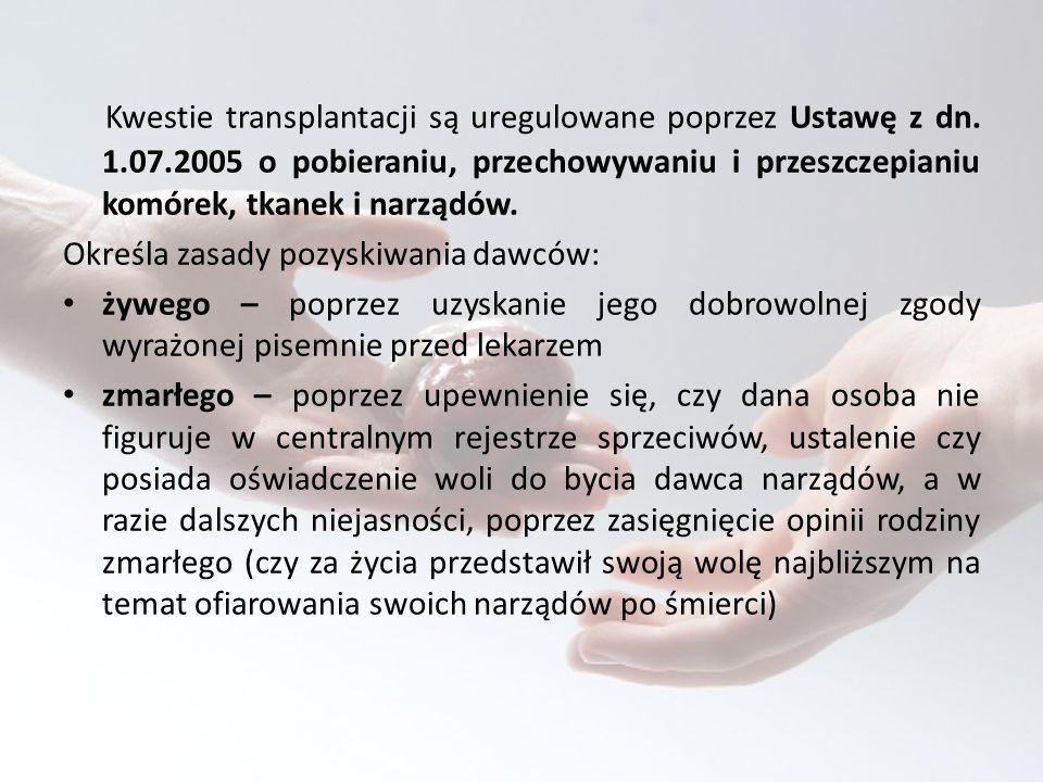 Kwestie transplantacji są uregulowane poprzez Ustawę z dn.