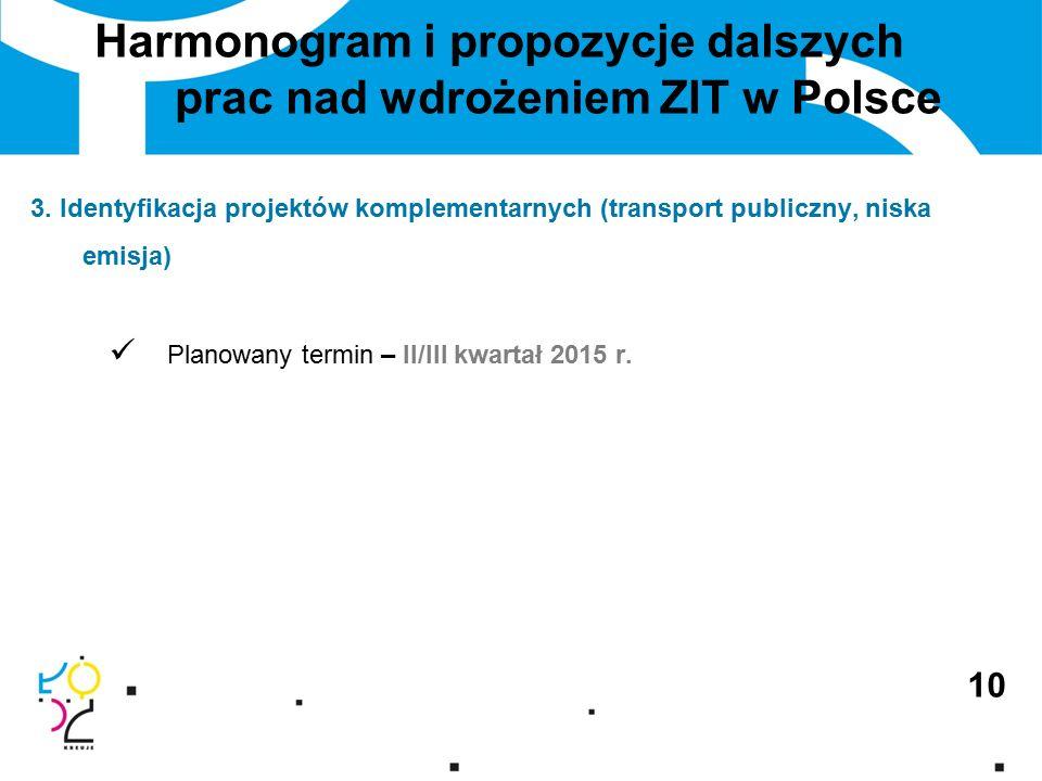 Harmonogram i propozycje dalszych prac nad wdrożeniem ZIT w Polsce 10 3.
