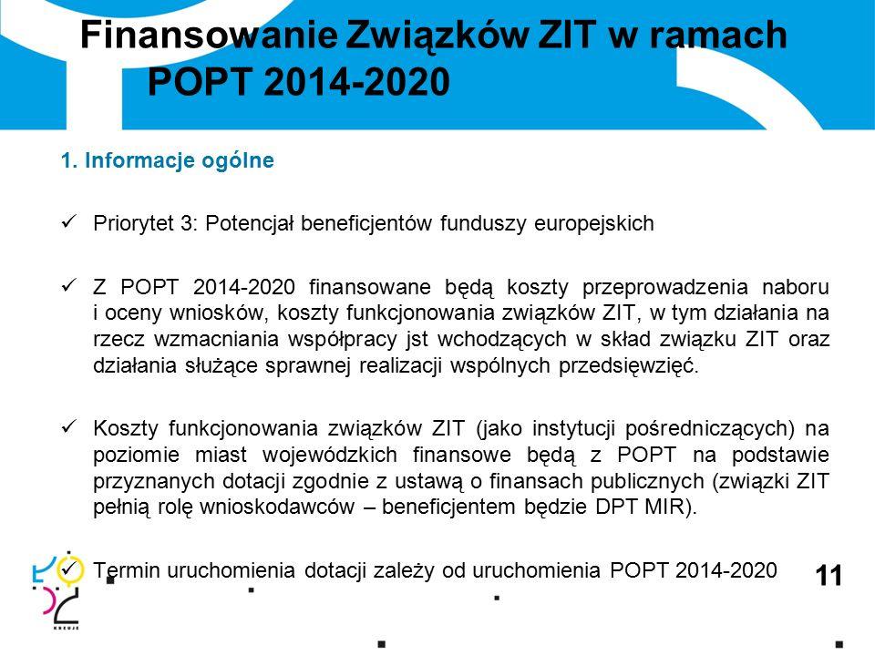 Finansowanie Związków ZIT w ramach POPT 2014-2020 1.