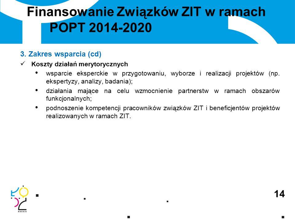 Finansowanie Związków ZIT w ramach POPT 2014-2020 3.