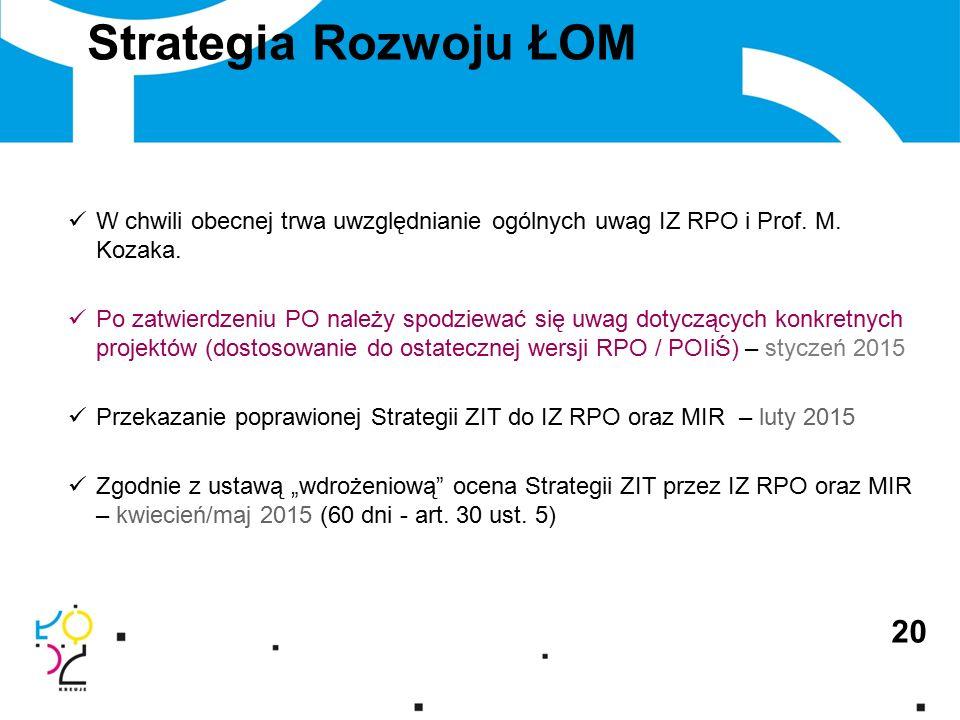 Strategia Rozwoju ŁOM 20 W chwili obecnej trwa uwzględnianie ogólnych uwag IZ RPO i Prof.