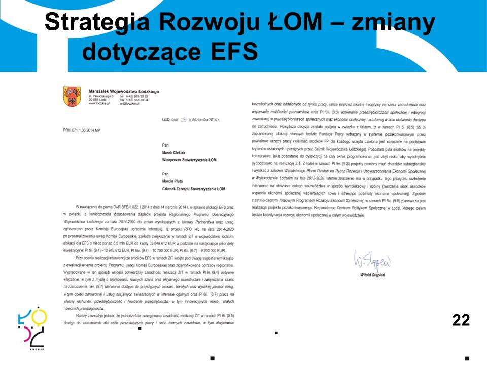 Strategia Rozwoju ŁOM – zmiany dotyczące EFS 22