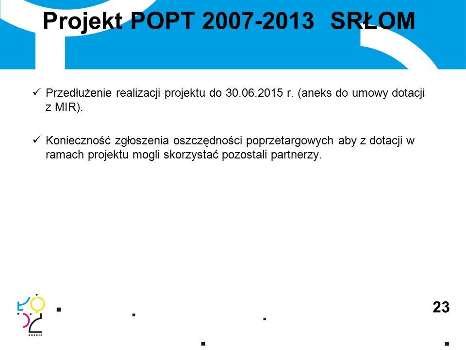 Projekt POPT 2007-2013 SRŁOM 23 Przedłużenie realizacji projektu do 30.06.2015 r.