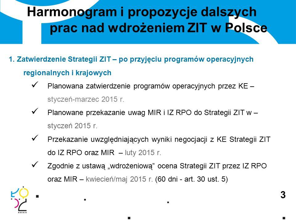 3 Harmonogram i propozycje dalszych prac nad wdrożeniem ZIT w Polsce 1.
