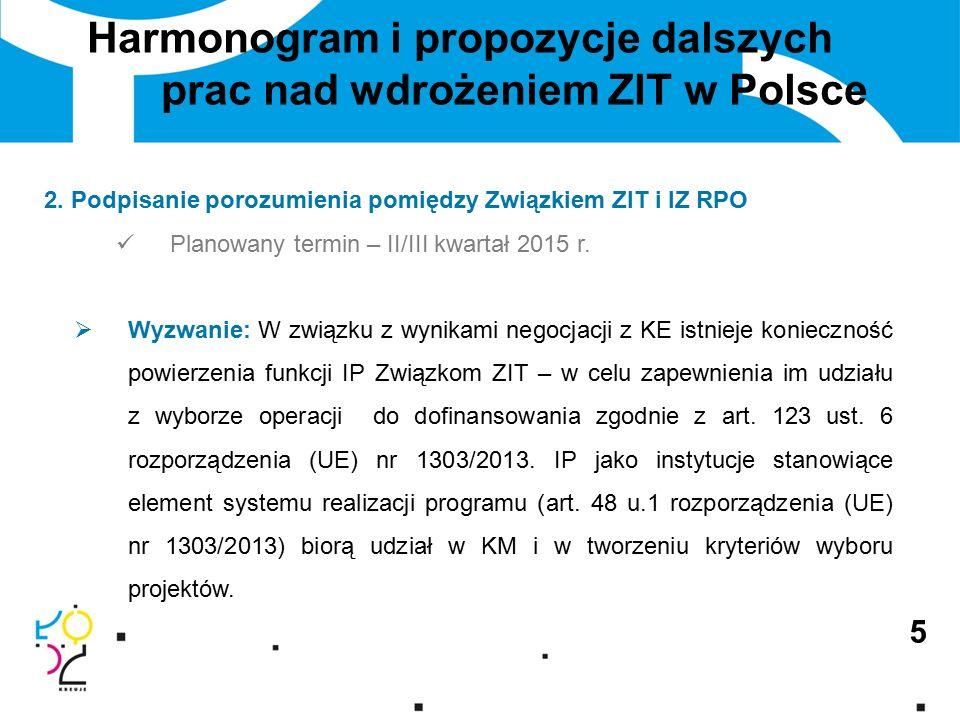 5 Harmonogram i propozycje dalszych prac nad wdrożeniem ZIT w Polsce 2.