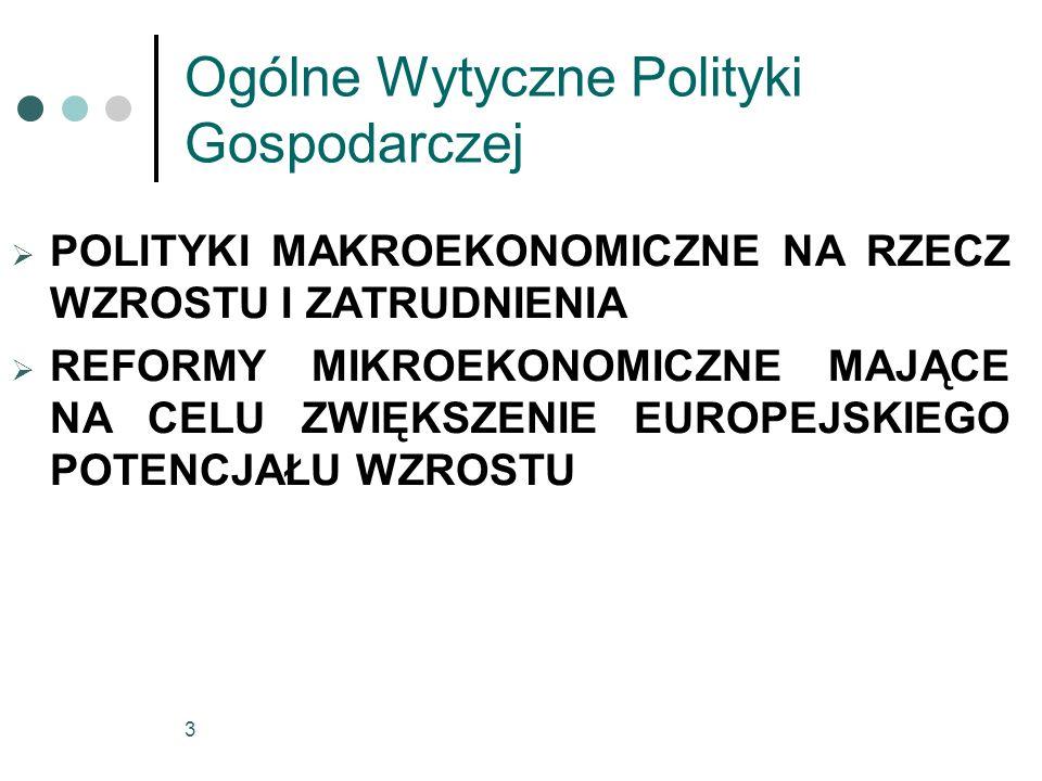 4 POLITYKI MAKROEKONOMICZNE NA RZECZ WZROSTU I ZATRUDNIENIA Zapewnianie stabilności gospodarczej w celu zwiększenia zatrudnienia i potencjału wzrostu: - polityka pieniężna przez dążenie do stabilności cen, - w przypadku nowych państw członkowskich ważne będzie, aby polityki pieniężne i polityki w zakresie kursu walutowego przyczyniały się do osiągnięcia konwergencji.
