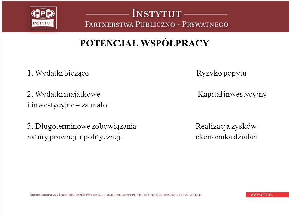 POTENCJAŁ WSPÓŁPRACY 1. Wydatki bieżące Ryzyko popytu 2.