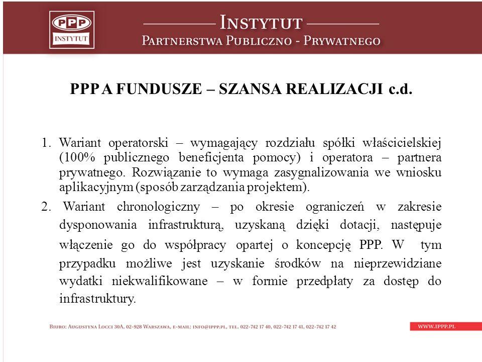 PPP A FUNDUSZE – SZANSA REALIZACJI c.d. 1.