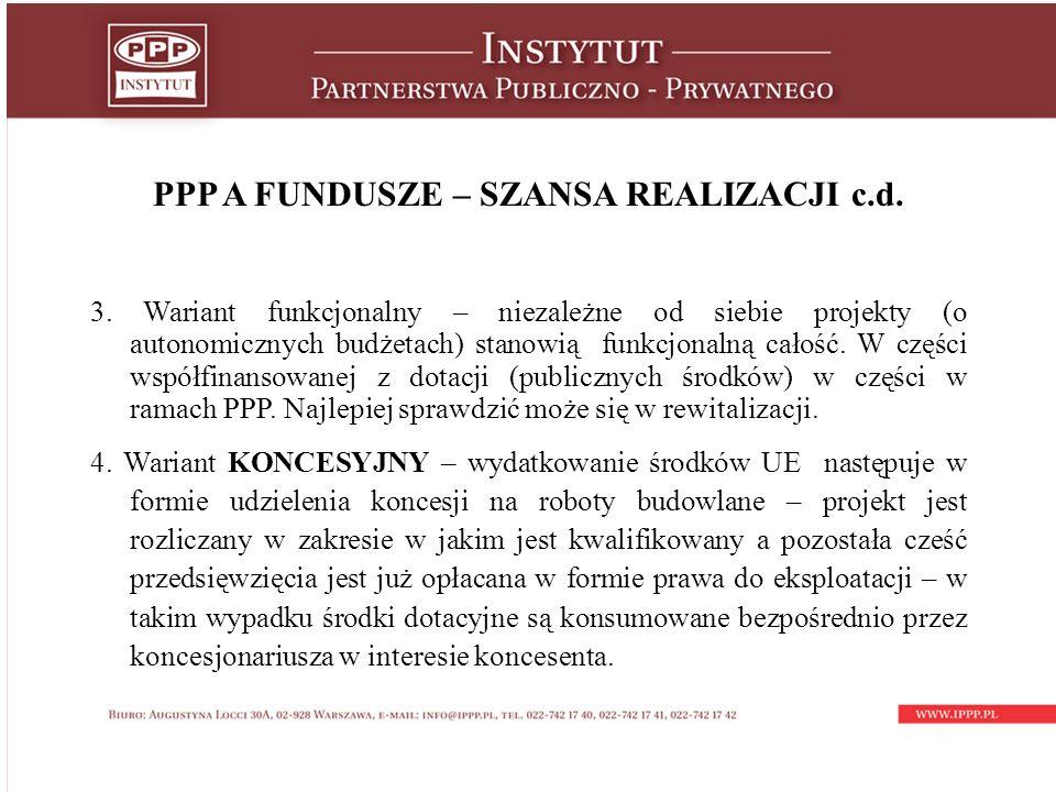 PPP A FUNDUSZE – SZANSA REALIZACJI c.d. 3.