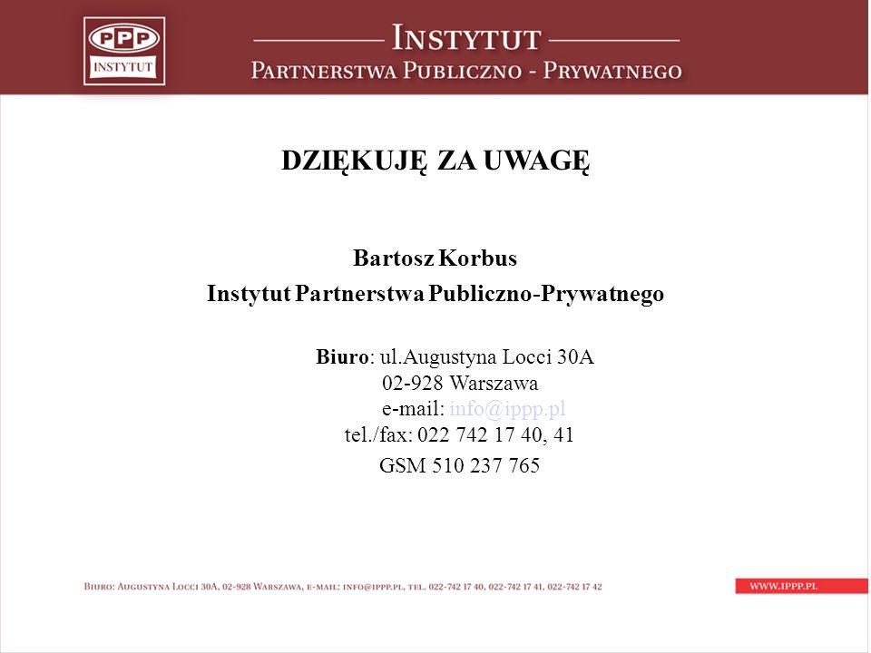 DZIĘKUJĘ ZA UWAGĘ Bartosz Korbus Instytut Partnerstwa Publiczno-Prywatnego Biuro: ul.Augustyna Locci 30A 02-928 Warszawa e-mail: info@ippp.pl tel./fax: 022 742 17 40, 41 GSM 510 237 765
