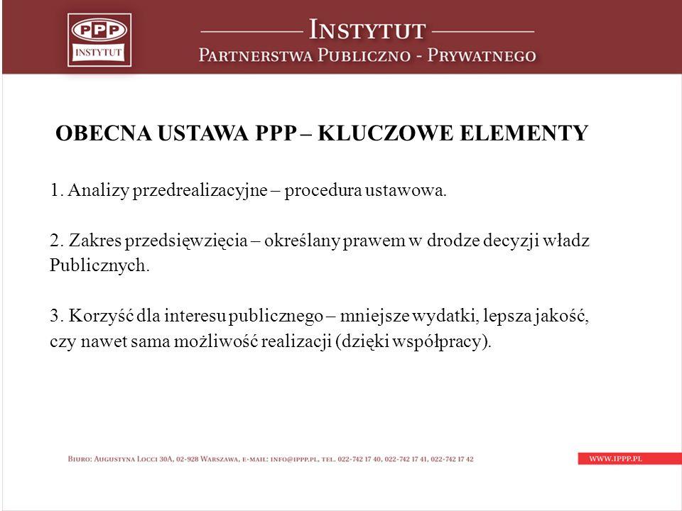 OBECNA USTAWA PPP – KLUCZOWE ELEMENTY 1. Analizy przedrealizacyjne – procedura ustawowa.