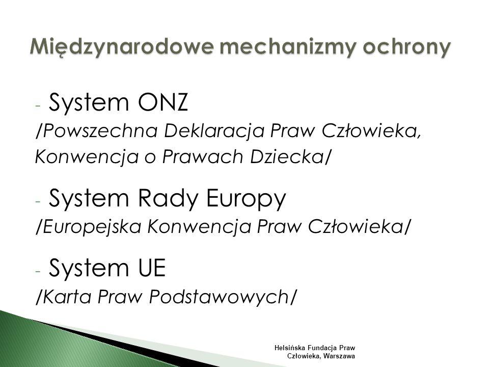 - System ONZ /Powszechna Deklaracja Praw Człowieka, Konwencja o Prawach Dziecka/ - System Rady Europy /Europejska Konwencja Praw Człowieka/ - System UE /Karta Praw Podstawowych/ Helsińska Fundacja Praw Człowieka, Warszawa