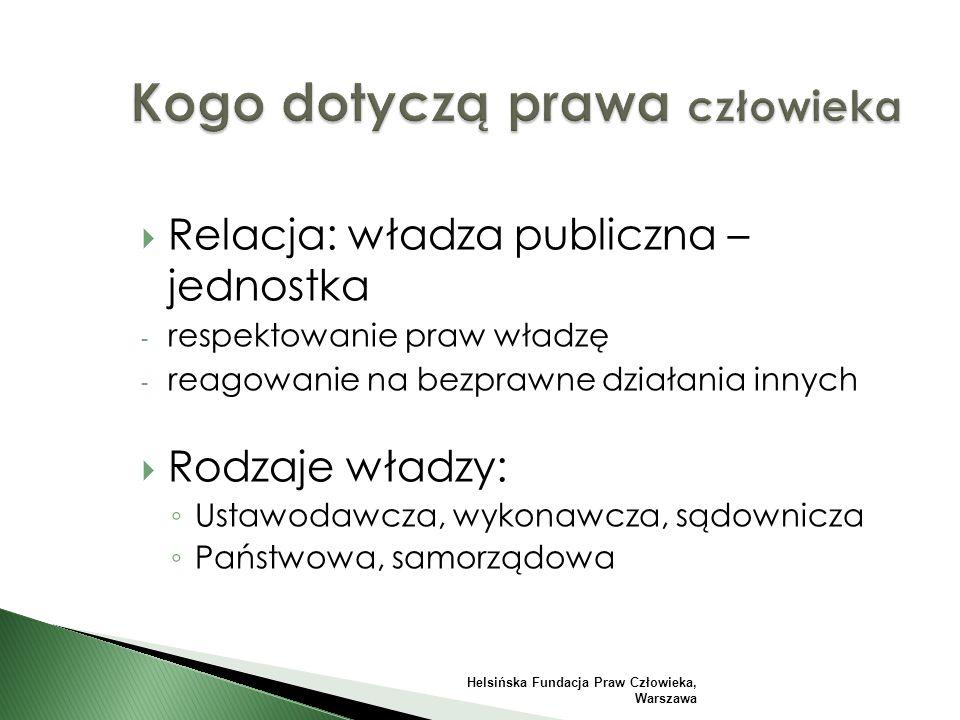  Relacja: władza publiczna – jednostka - respektowanie praw władzę - reagowanie na bezprawne działania innych  Rodzaje władzy: ◦ Ustawodawcza, wykonawcza, sądownicza ◦ Państwowa, samorządowa Helsińska Fundacja Praw Człowieka, Warszawa