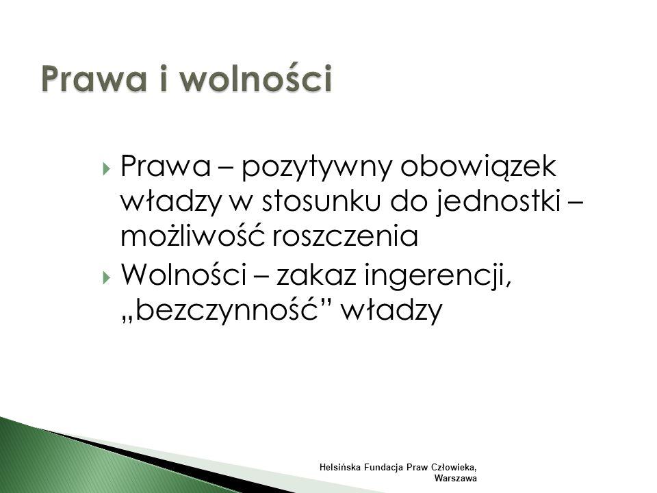 """ Prawa – pozytywny obowiązek władzy w stosunku do jednostki – możliwość roszczenia  Wolności – zakaz ingerencji, """"bezczynność władzy Helsińska Fundacja Praw Człowieka, Warszawa"""