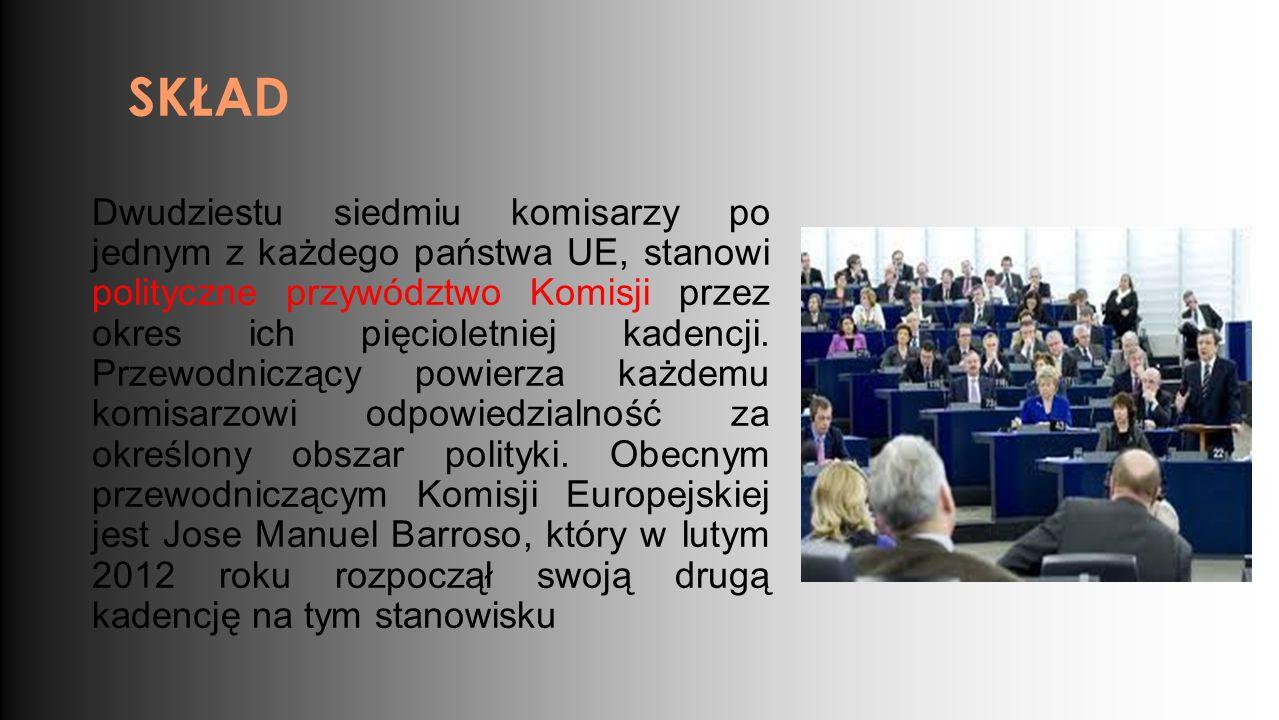 SKŁAD Dwudziestu siedmiu komisarzy po jednym z każdego państwa UE, stanowi polityczne przywództwo Komisji przez okres ich pięcioletniej kadencji.